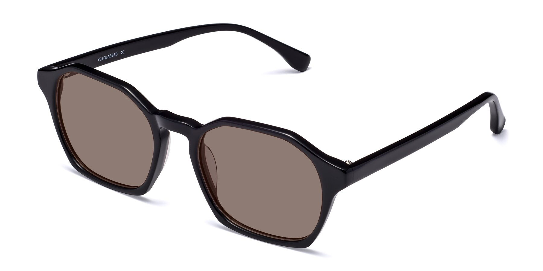 Angle of Stoltz in Black with Medium Brown Tinted Lenses