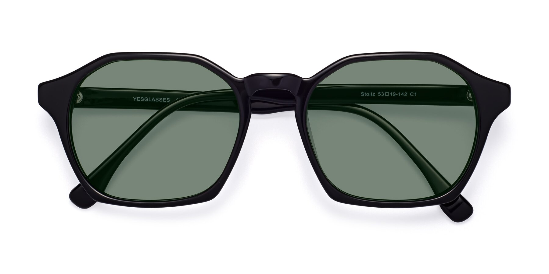 Folded Front of Stoltz in Black with Medium Green Tinted Lenses