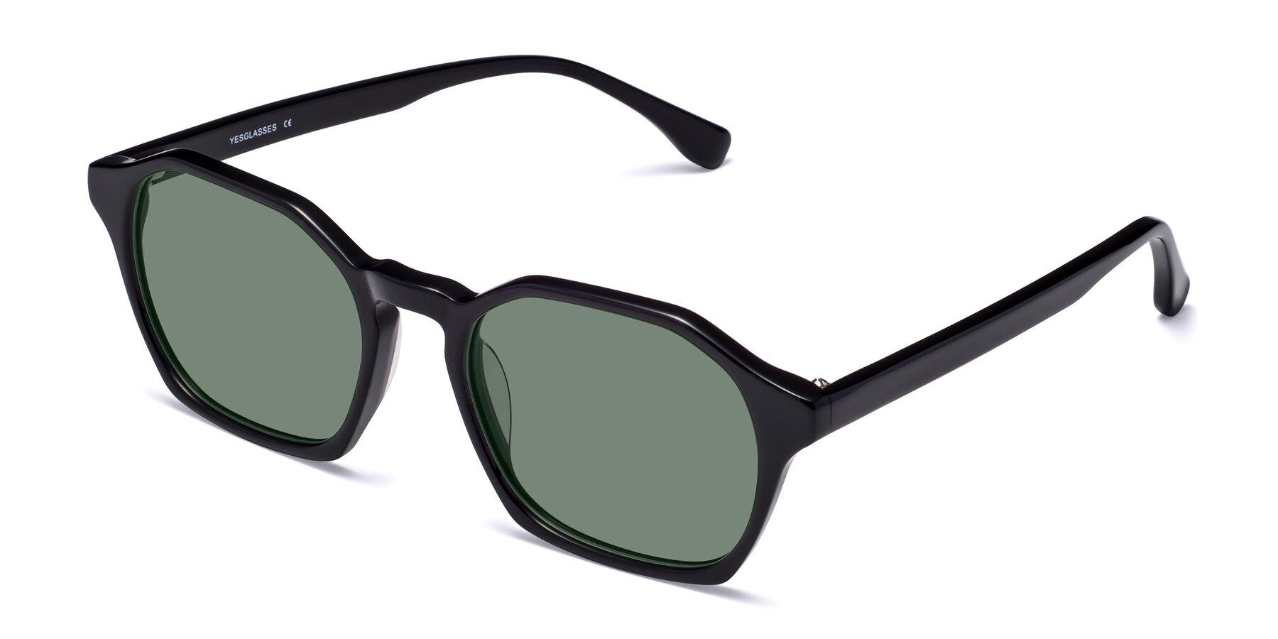 Angle of Stoltz in Black with Medium Green Tinted Lenses