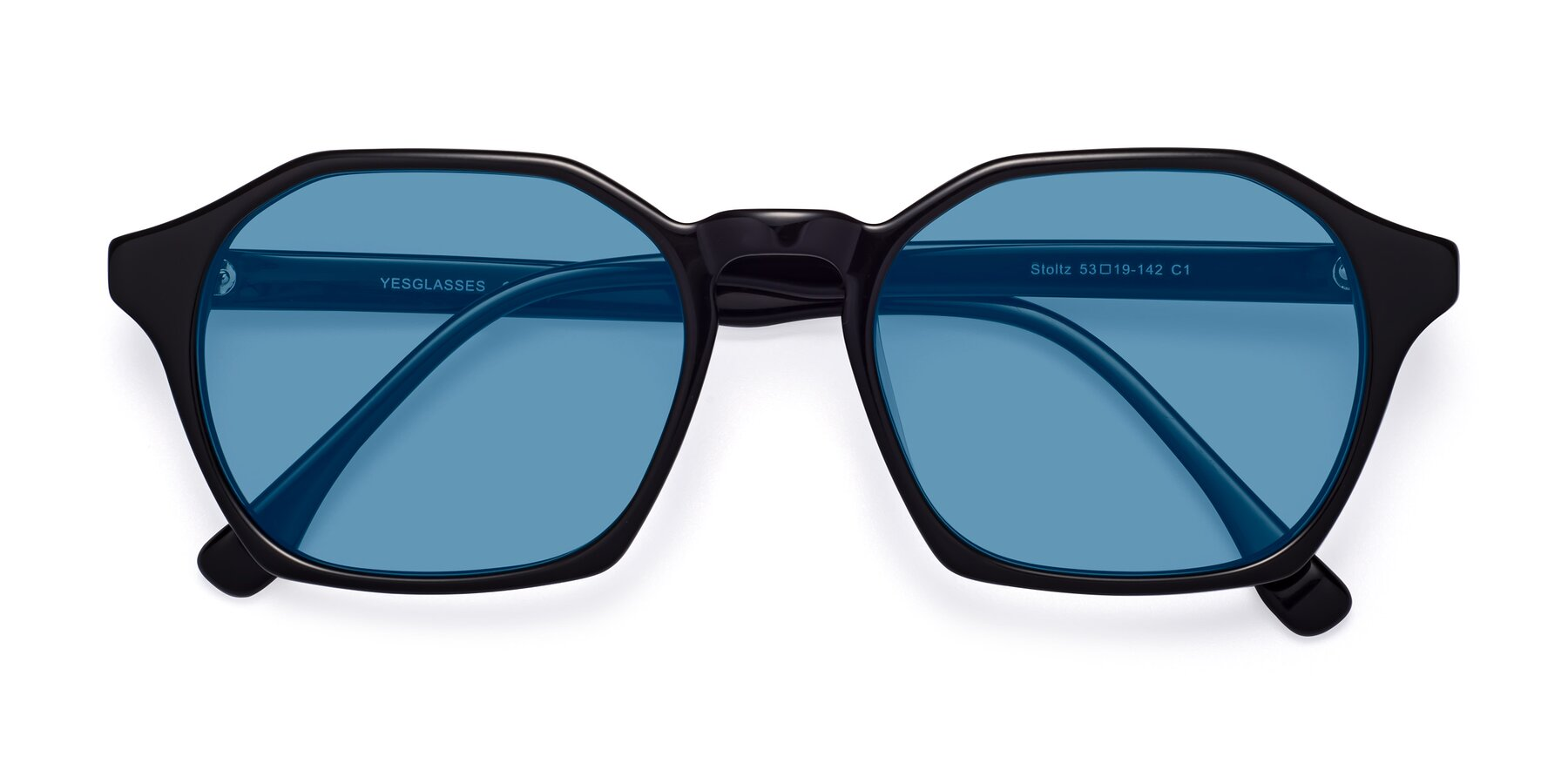 Folded Front of Stoltz in Black with Medium Blue Tinted Lenses