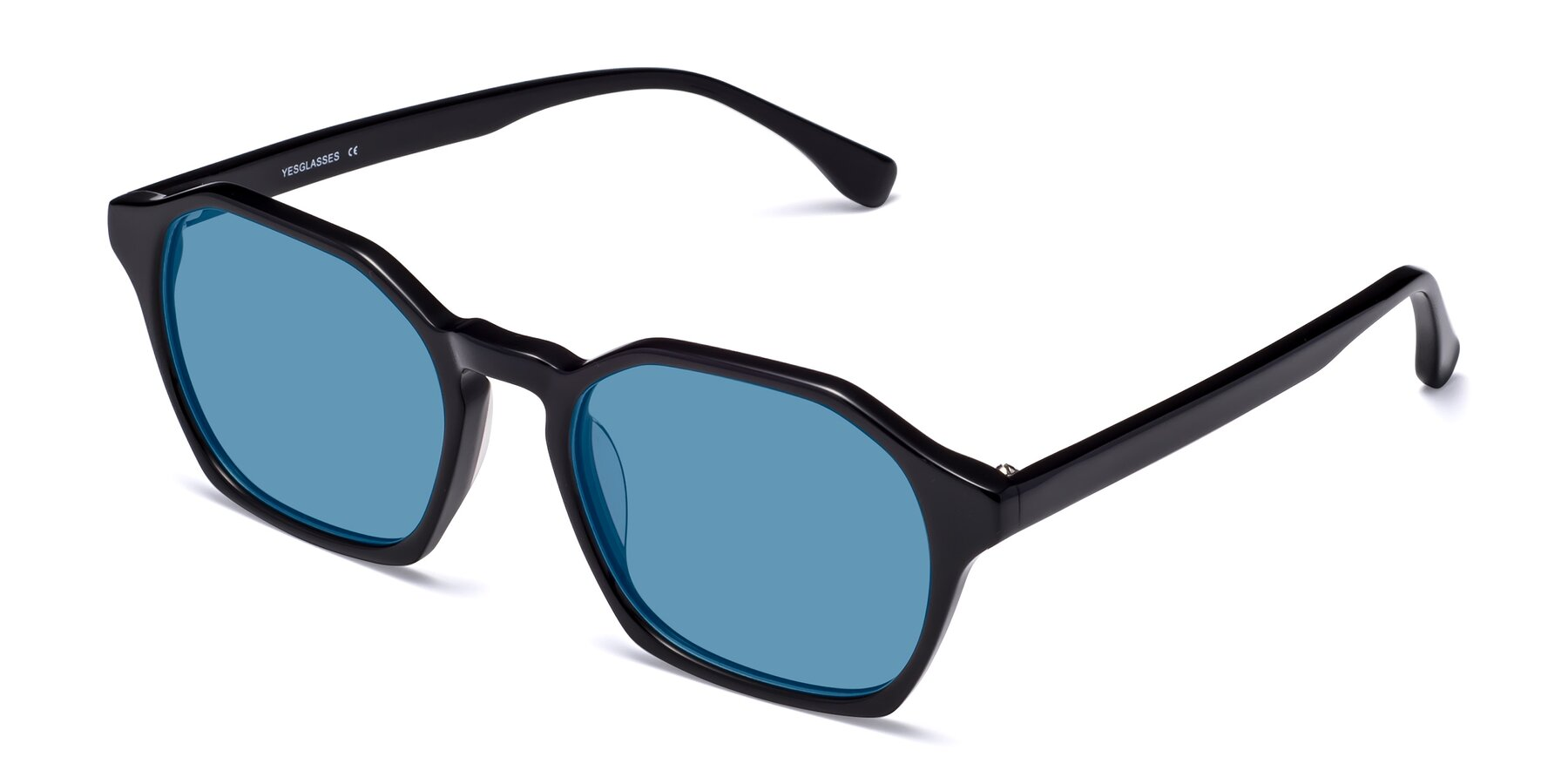 Angle of Stoltz in Black with Medium Blue Tinted Lenses