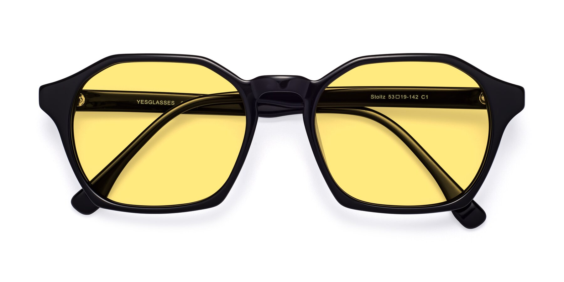 Folded Front of Stoltz in Black with Medium Yellow Tinted Lenses
