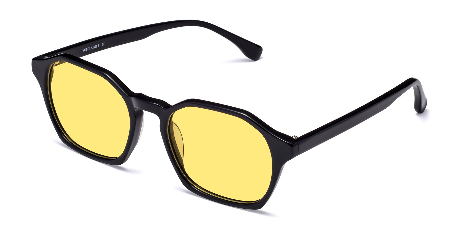Angle of Stoltz in Black with Medium Yellow Tinted Lenses