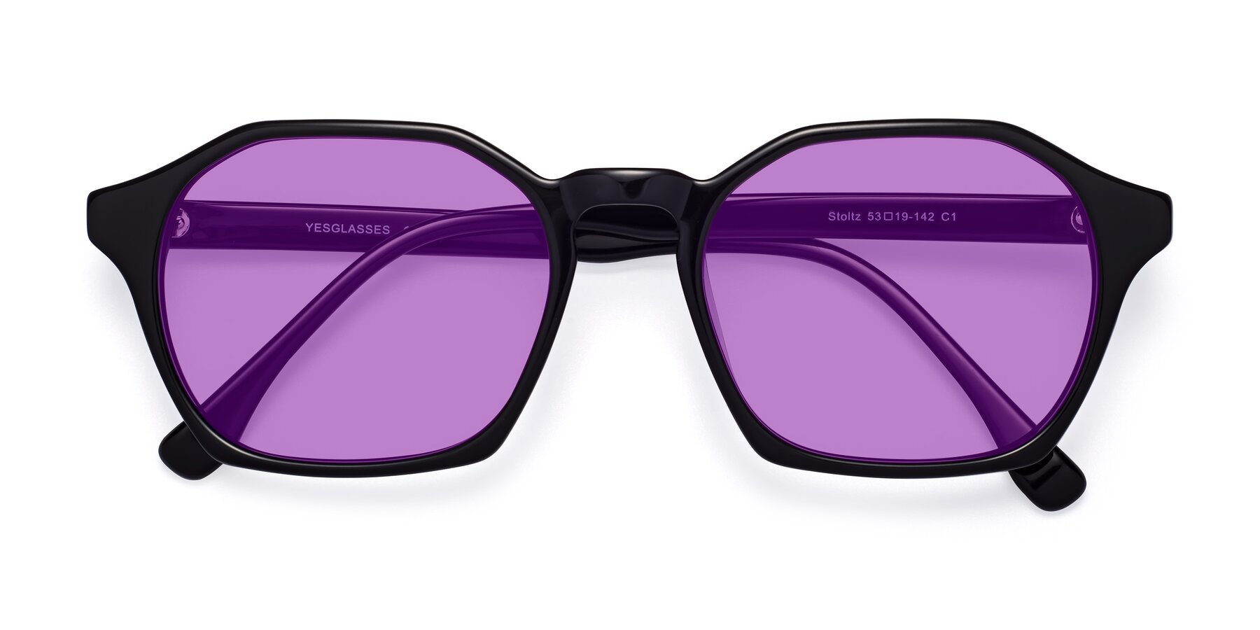 Folded Front of Stoltz in Black with Medium Purple Tinted Lenses