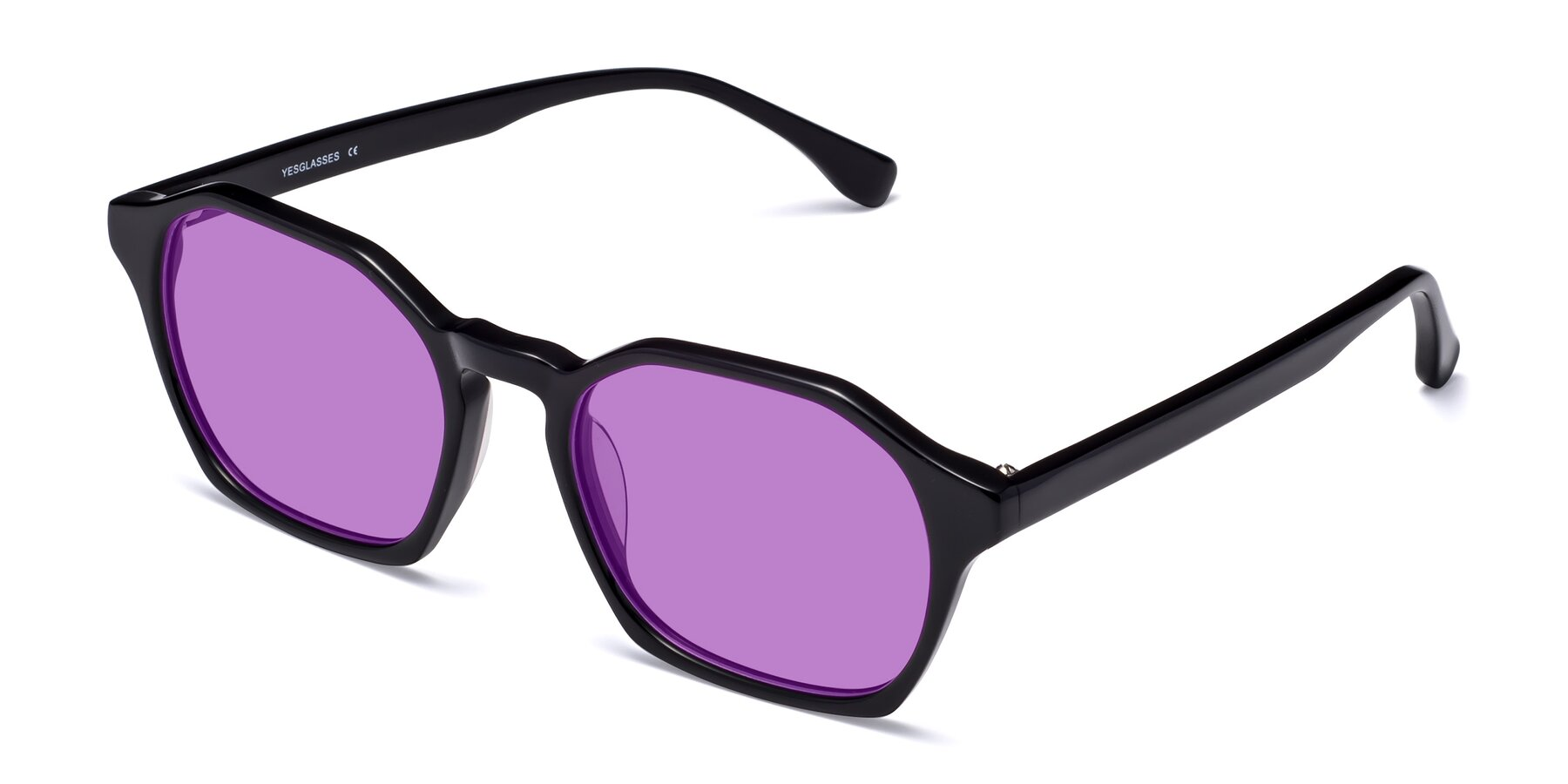 Angle of Stoltz in Black with Medium Purple Tinted Lenses
