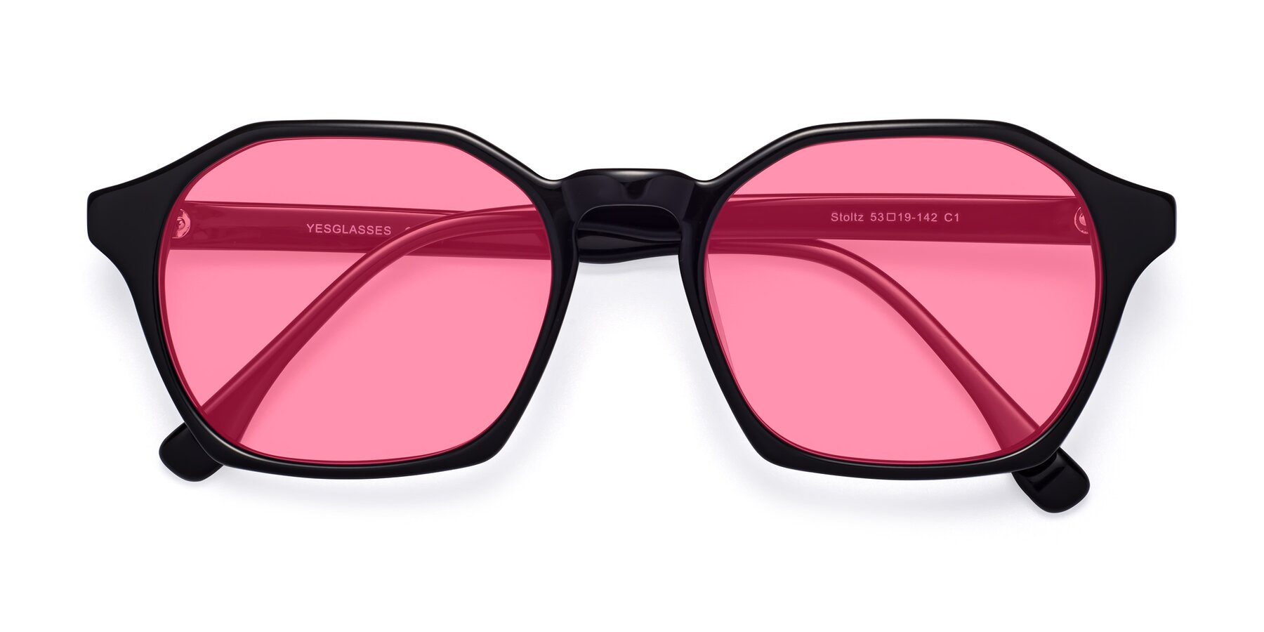 Folded Front of Stoltz in Black with Pink Tinted Lenses