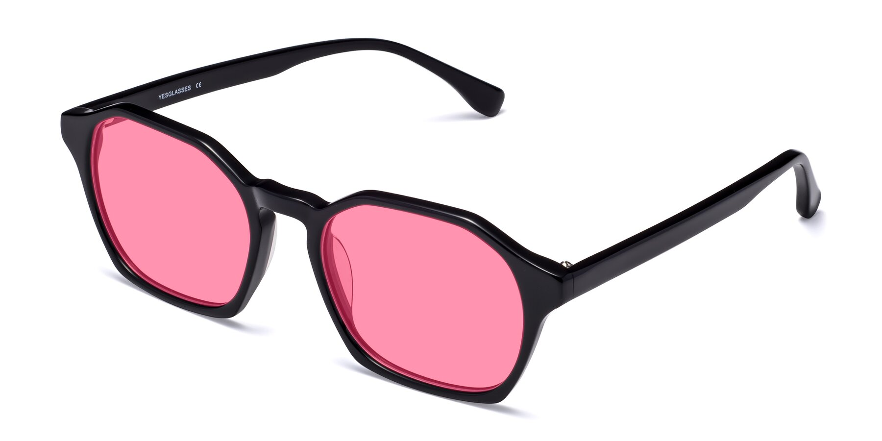 Angle of Stoltz in Black with Pink Tinted Lenses