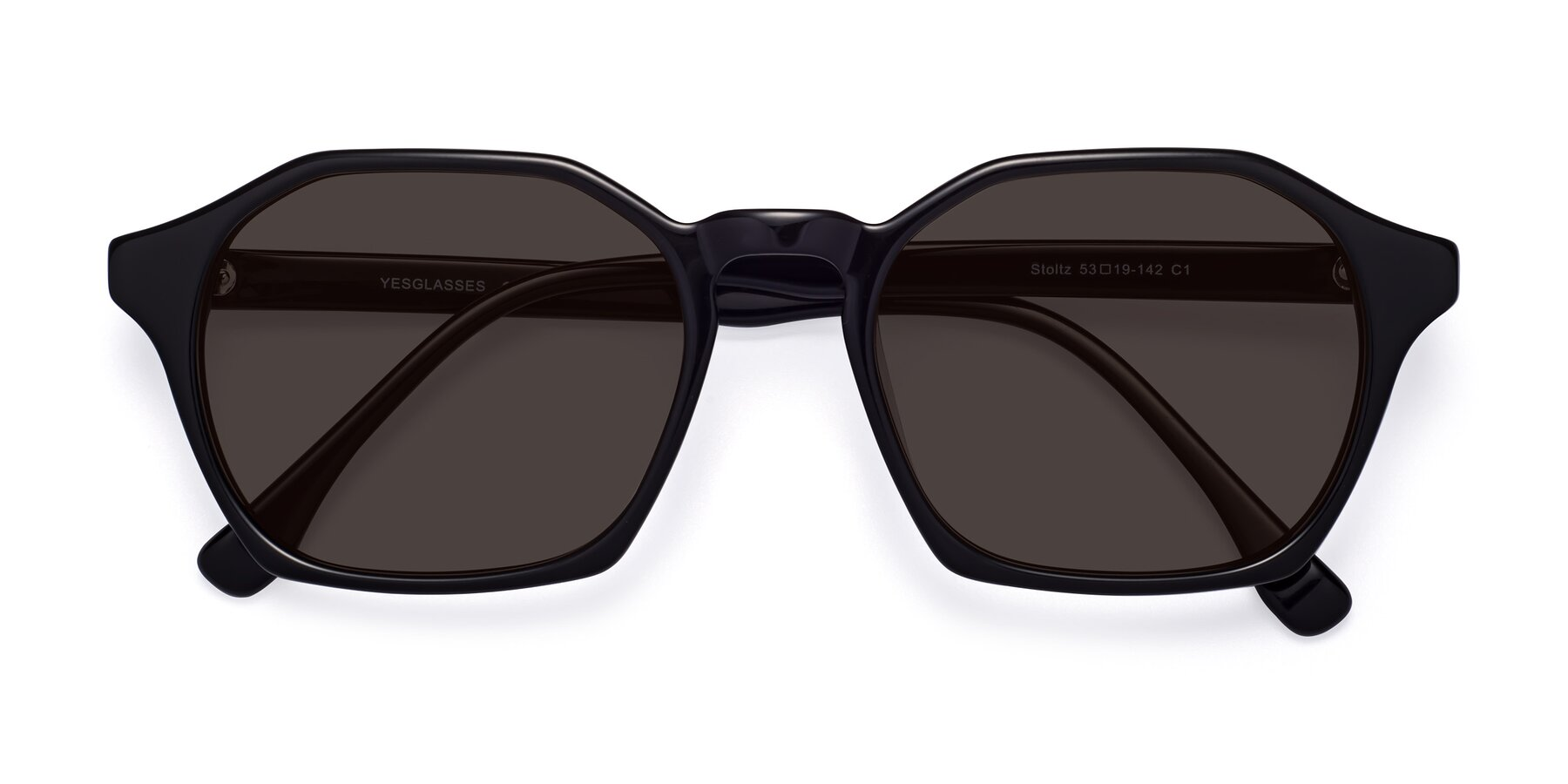 Folded Front of Stoltz in Black with Gray Tinted Lenses