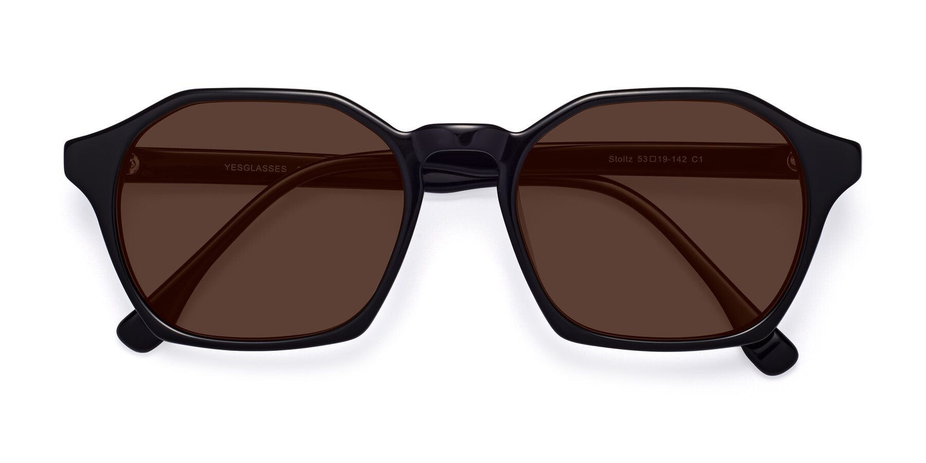 Folded Front of Stoltz in Black with Brown Tinted Lenses