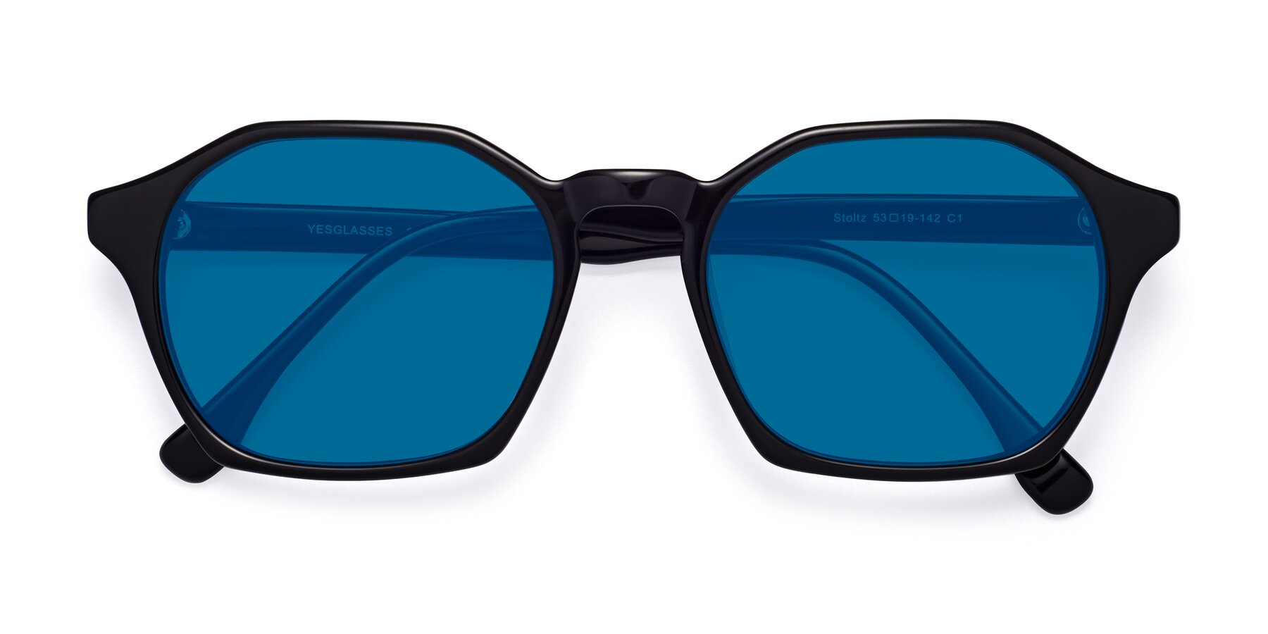 Folded Front of Stoltz in Black with Blue Tinted Lenses