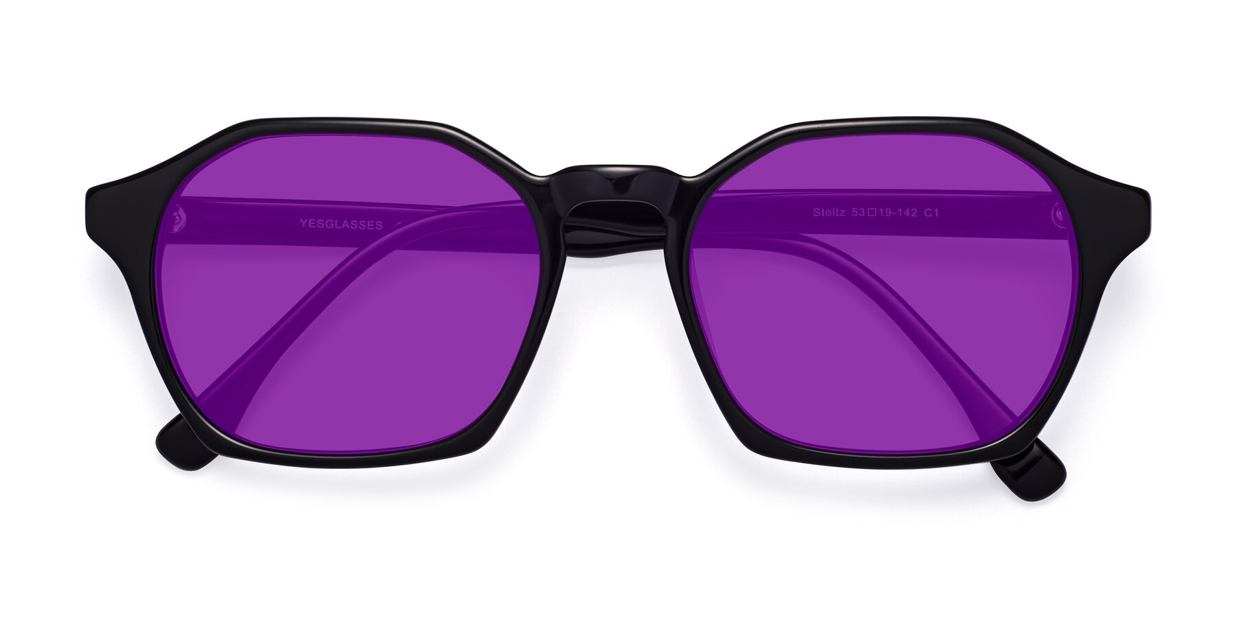 Folded Front of Stoltz in Black with Purple Tinted Lenses