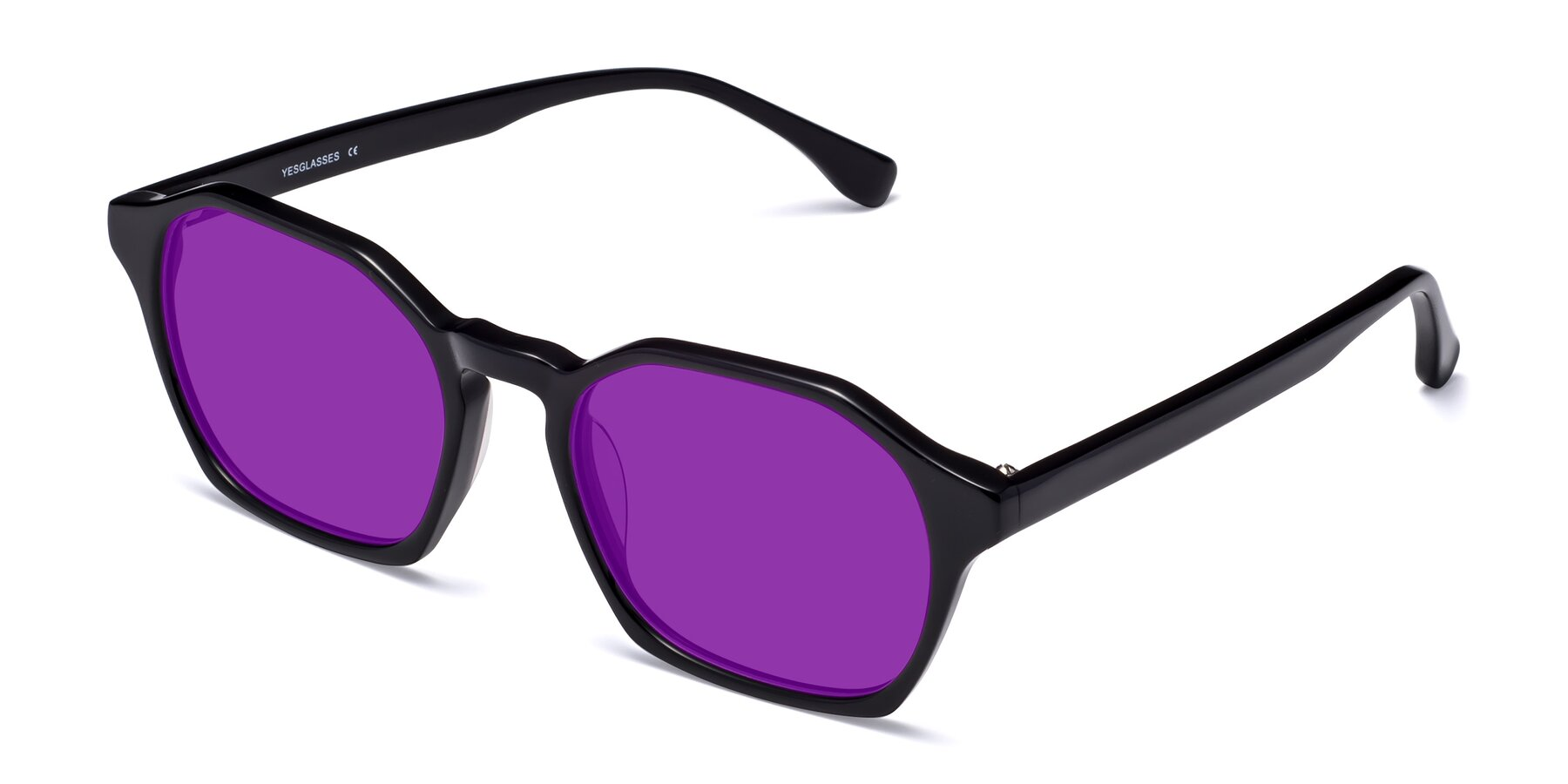 Angle of Stoltz in Black with Purple Tinted Lenses