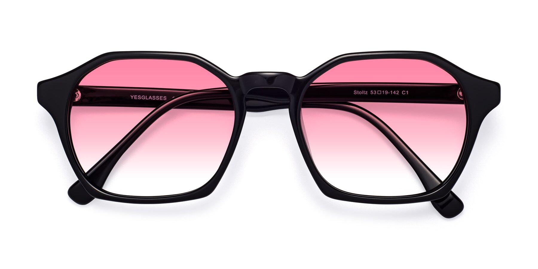 Folded Front of Stoltz in Black with Pink Gradient Lenses