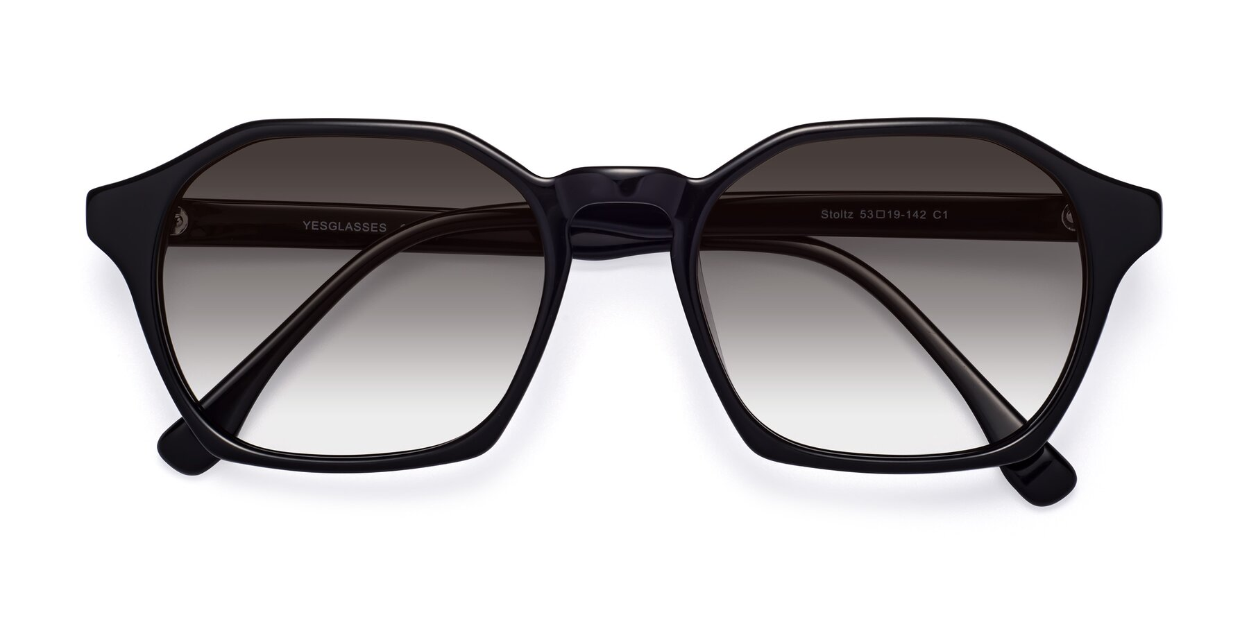 Folded Front of Stoltz in Black with Gray Gradient Lenses