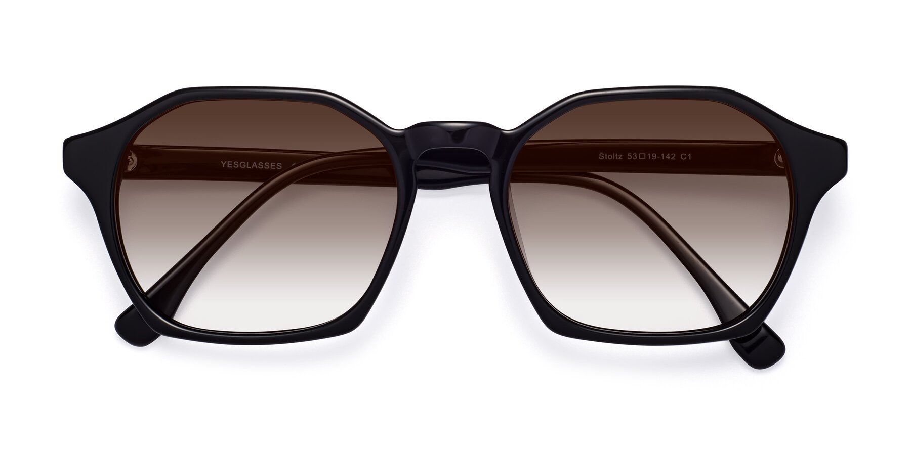 Folded Front of Stoltz in Black with Brown Gradient Lenses