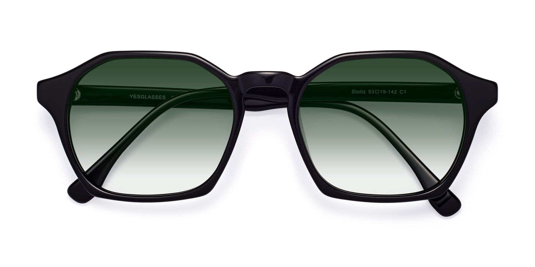 Folded Front of Stoltz in Black with Green Gradient Lenses