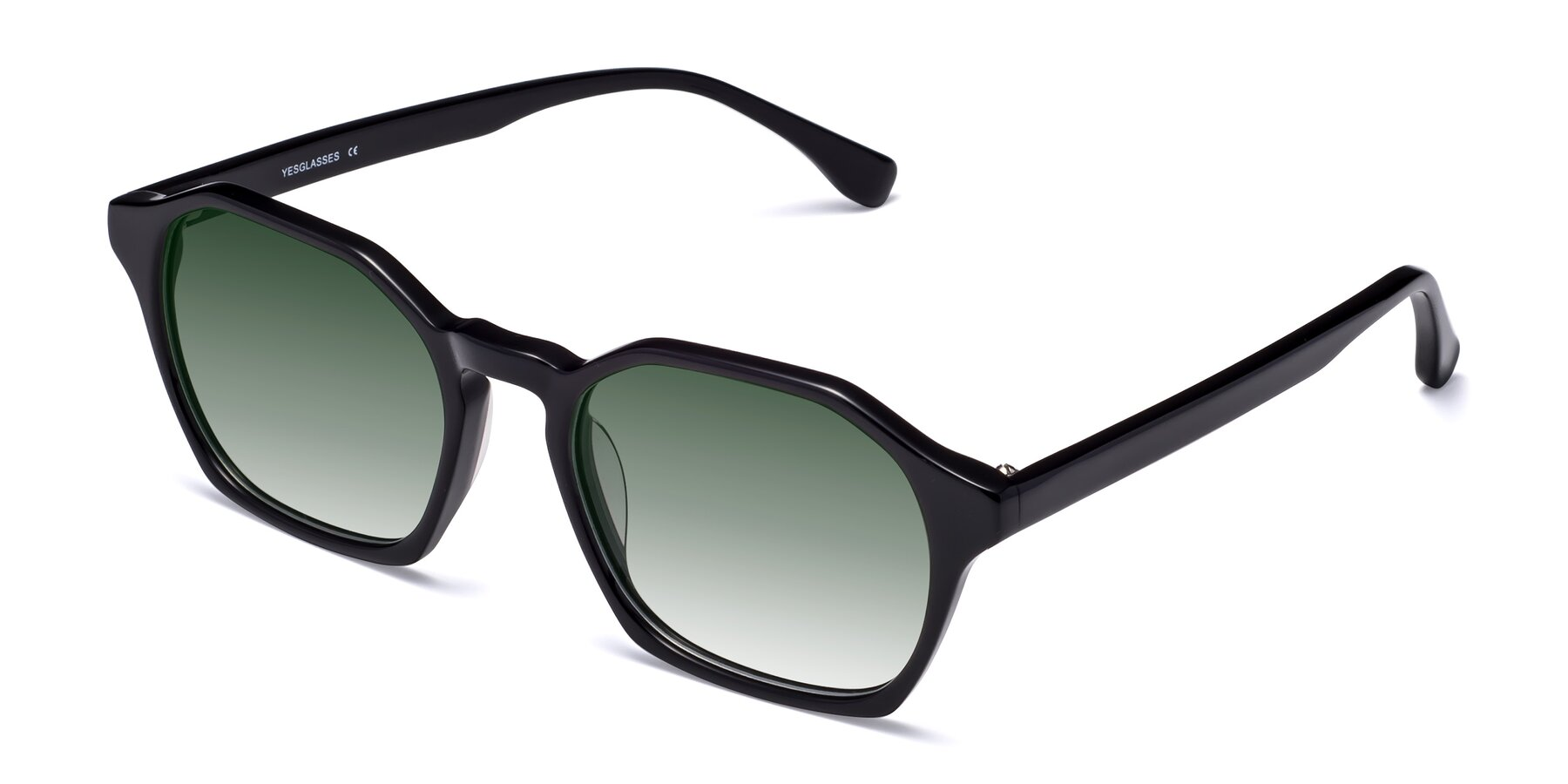 Angle of Stoltz in Black with Green Gradient Lenses