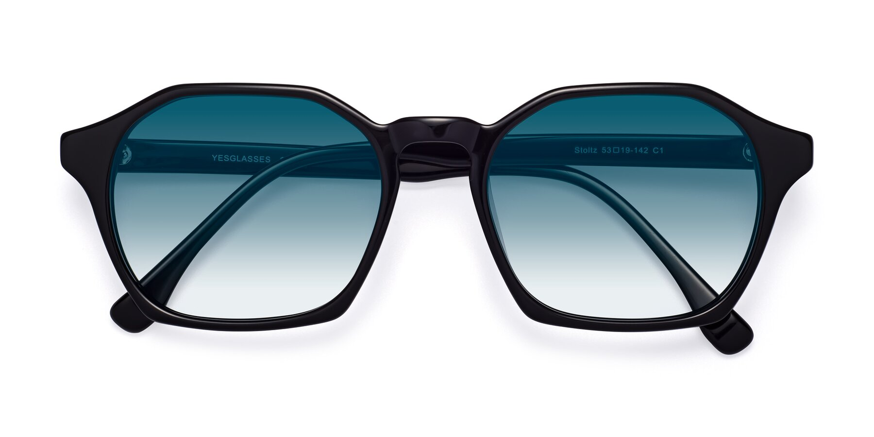 Folded Front of Stoltz in Black with Blue Gradient Lenses