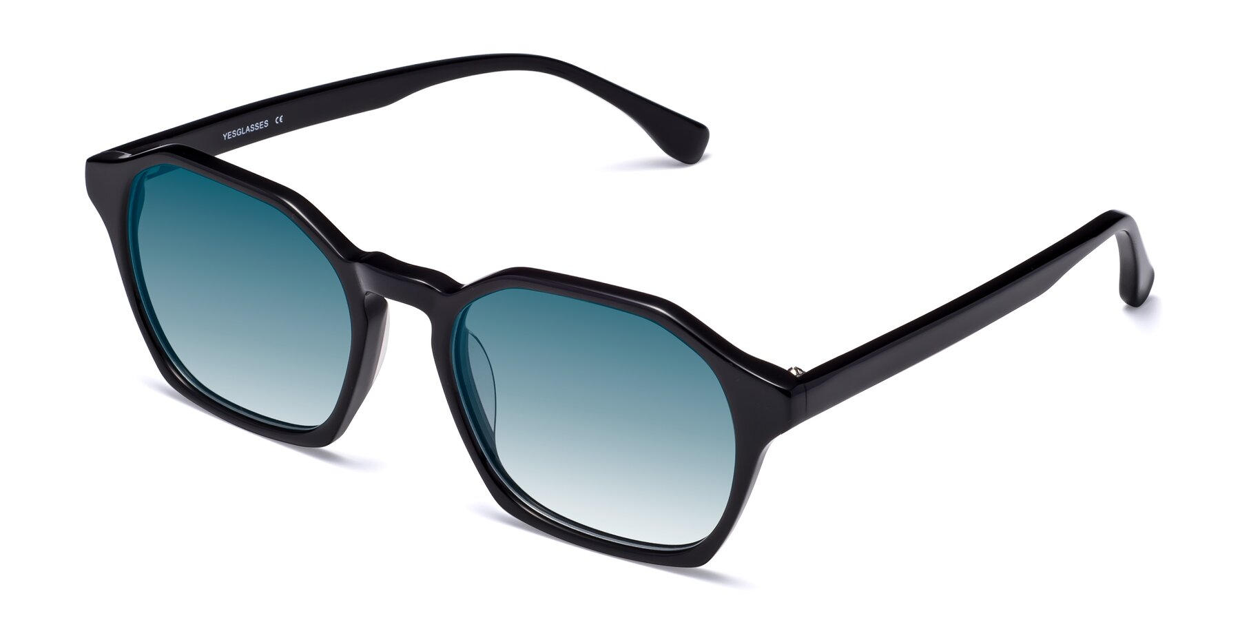 Angle of Stoltz in Black with Blue Gradient Lenses