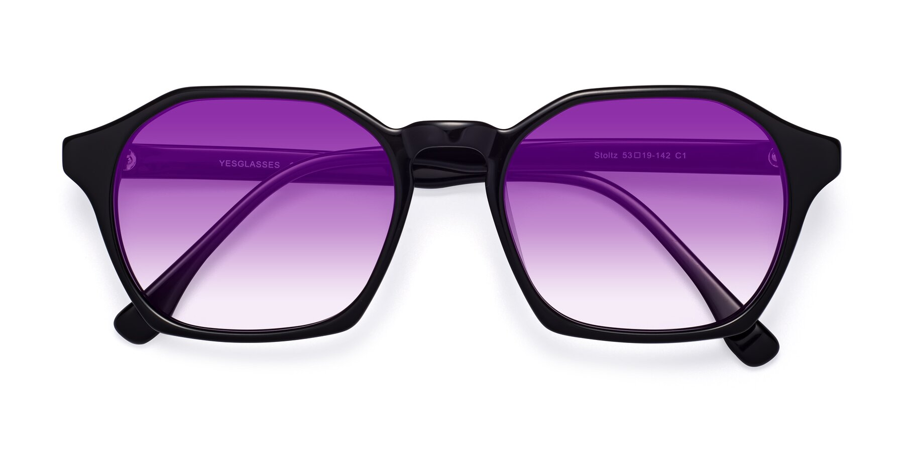 Folded Front of Stoltz in Black with Purple Gradient Lenses