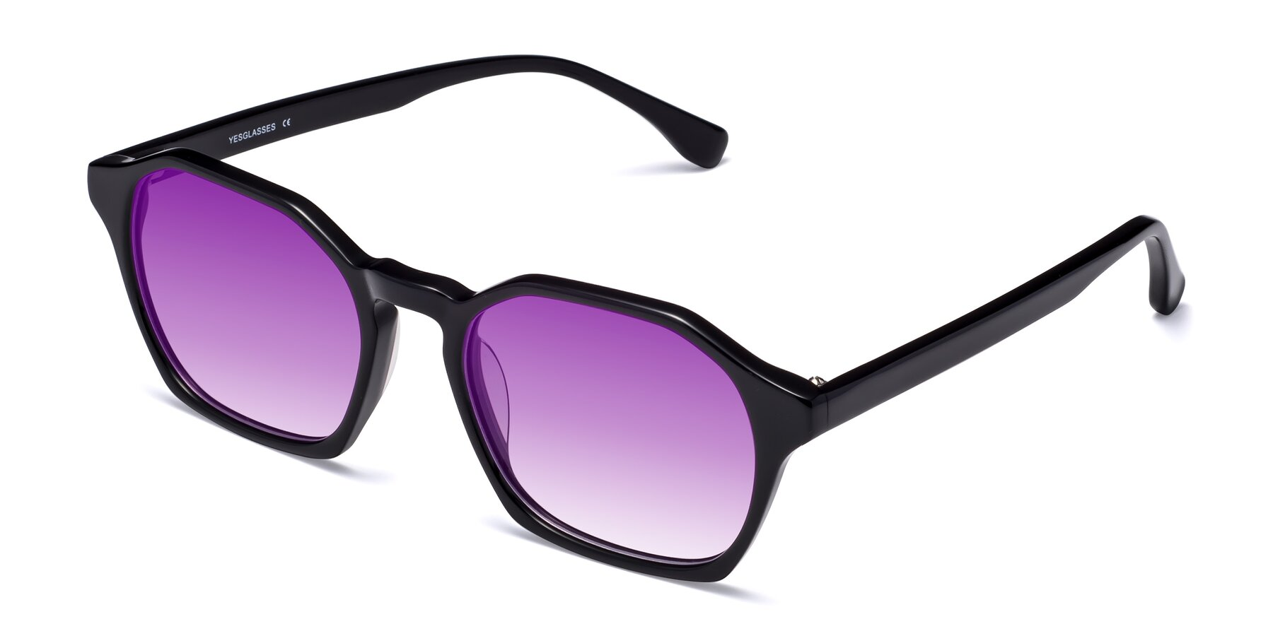 Angle of Stoltz in Black with Purple Gradient Lenses