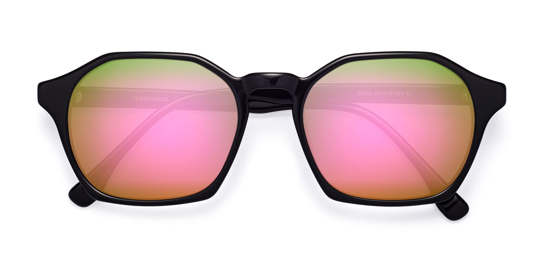 Folded Front of Stoltz in Black with Pink Mirrored Lenses