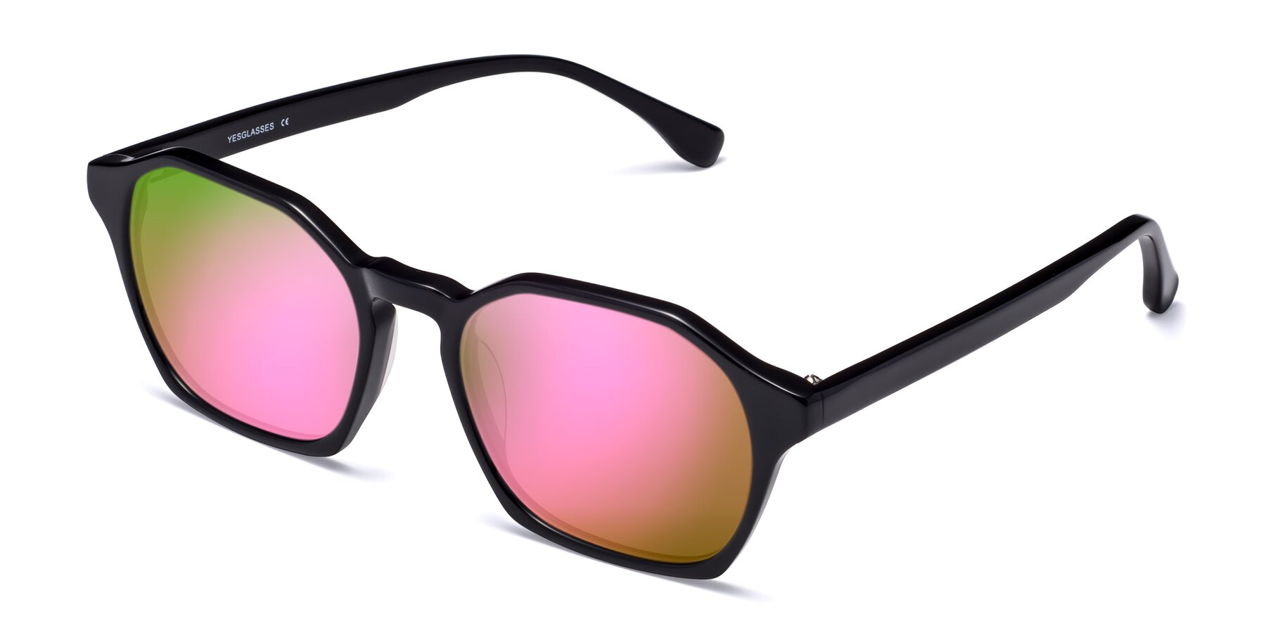 Angle of Stoltz in Black with Pink Mirrored Lenses