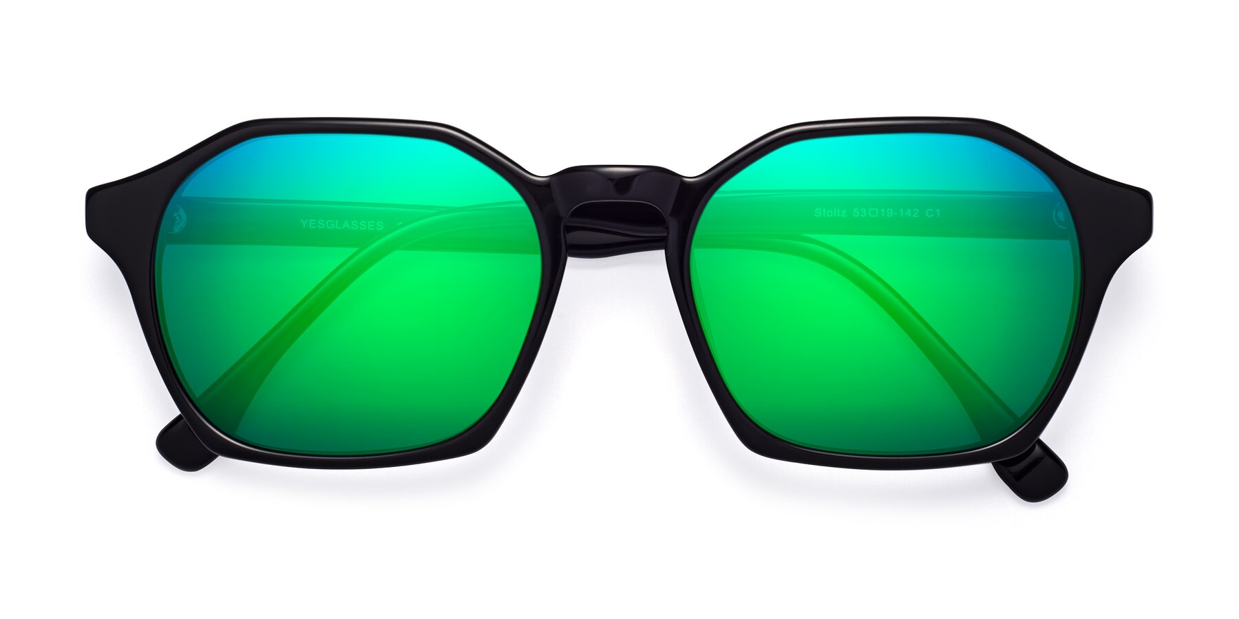 Folded Front of Stoltz in Black with Green Mirrored Lenses