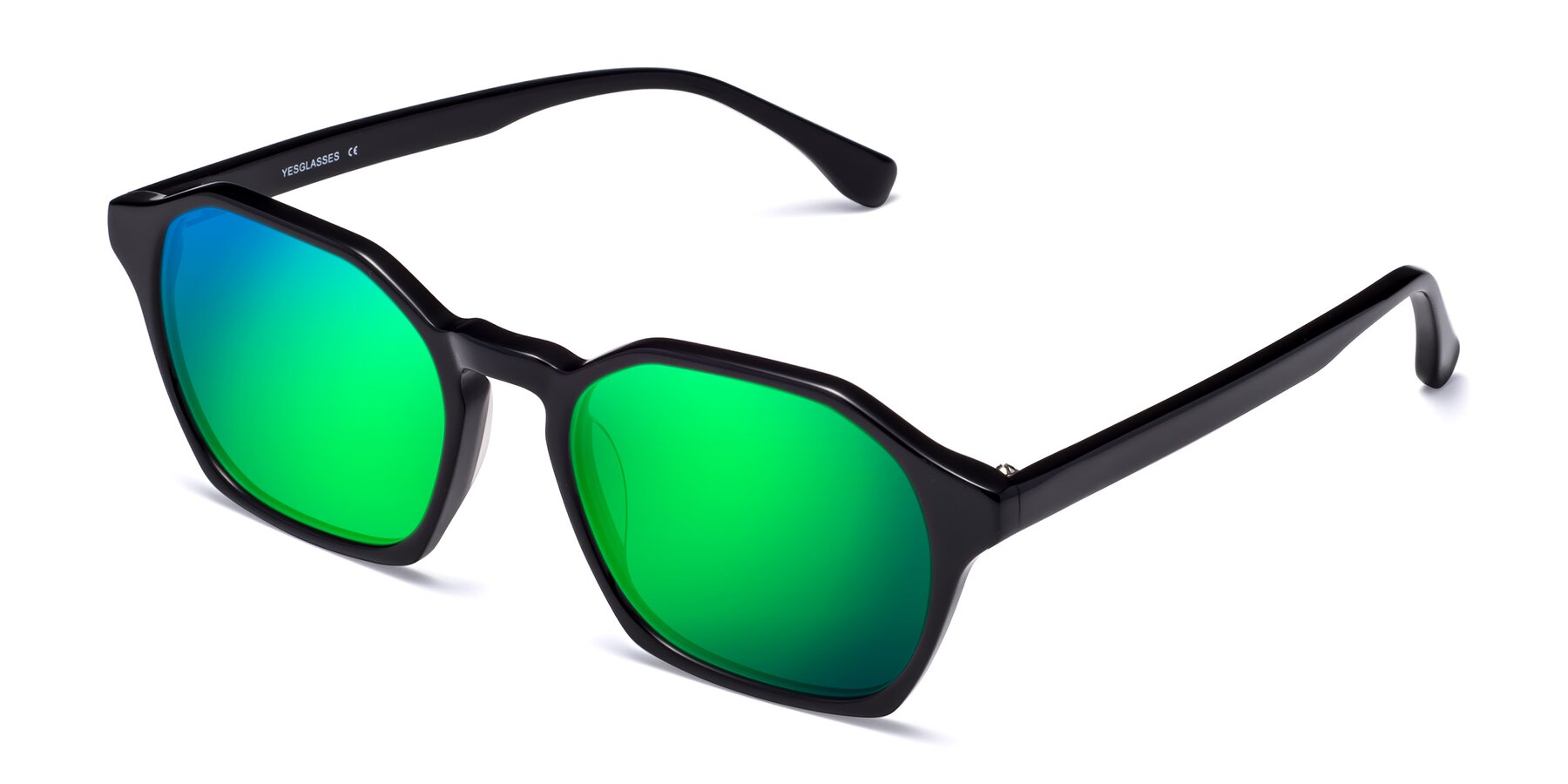 Angle of Stoltz in Black with Green Mirrored Lenses