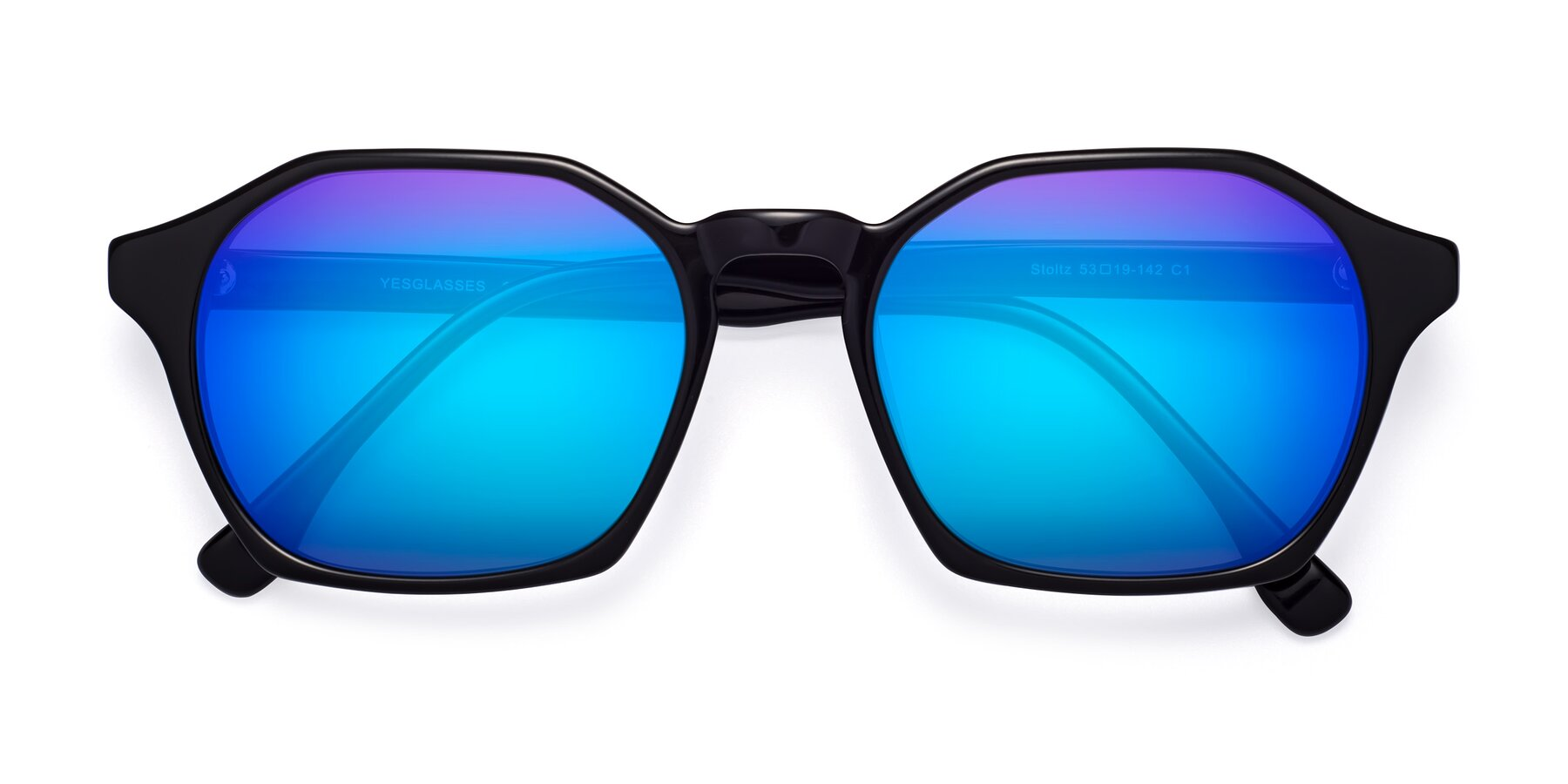 Folded Front of Stoltz in Black with Blue Mirrored Lenses