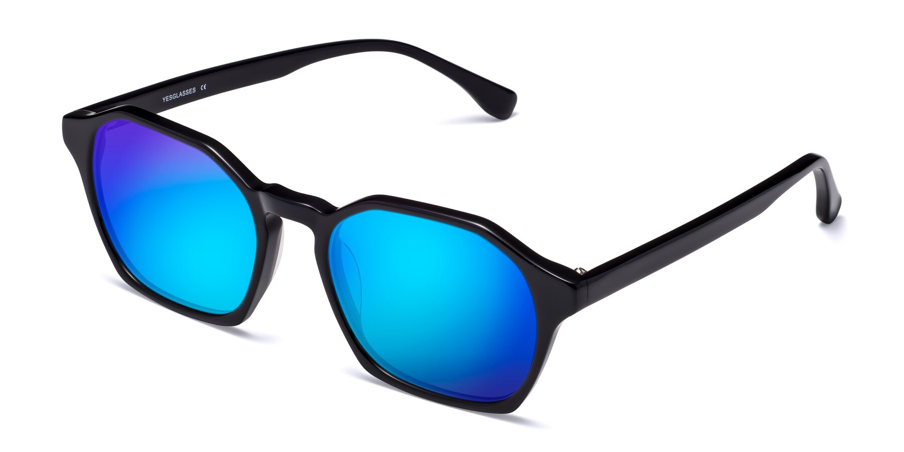 Angle of Stoltz in Black with Blue Mirrored Lenses