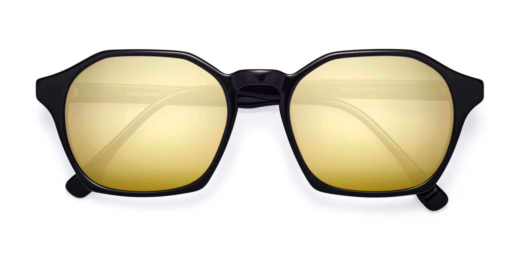 Folded Front of Stoltz in Black with Gold Mirrored Lenses