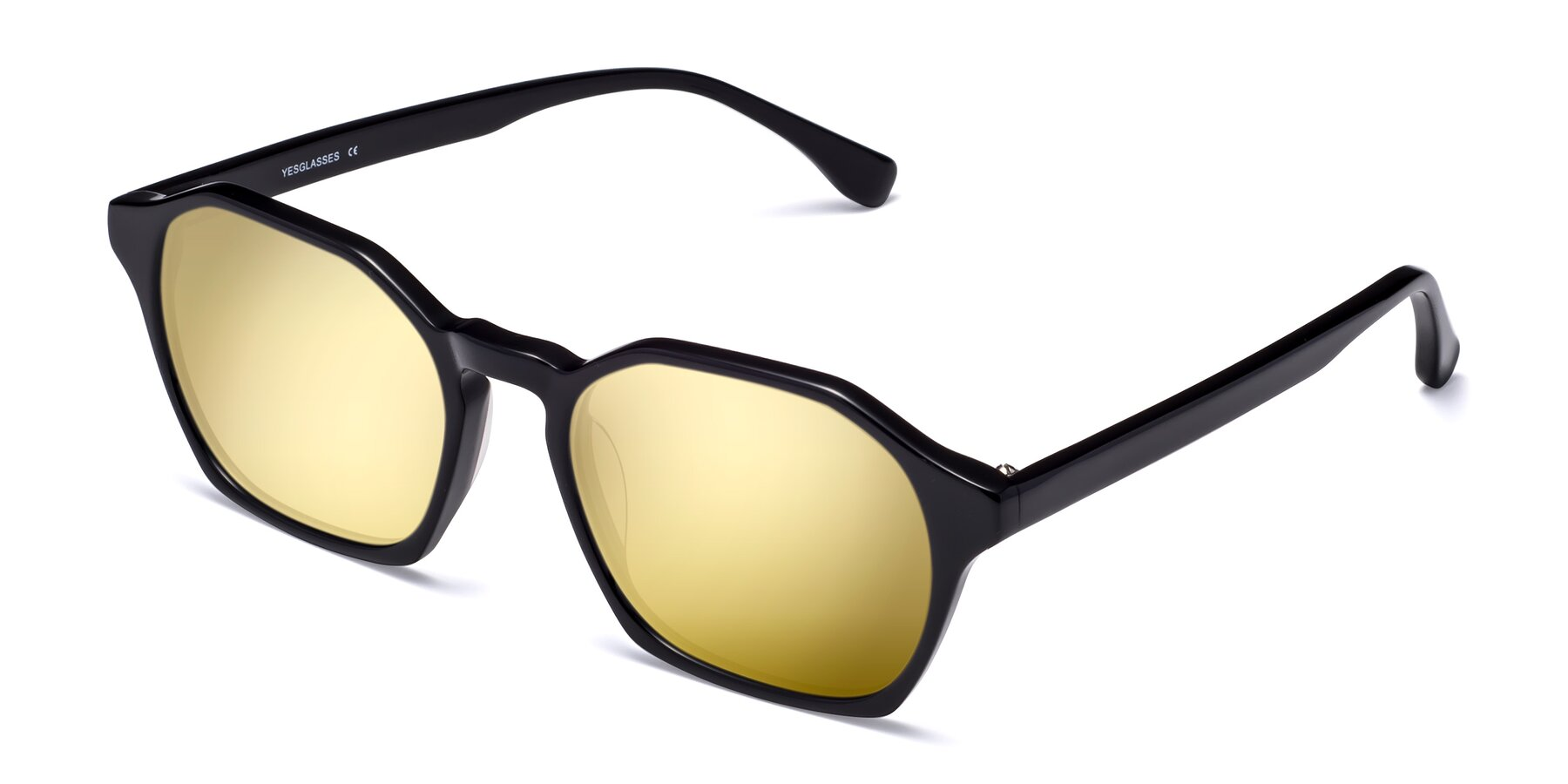 Angle of Stoltz in Black with Gold Mirrored Lenses