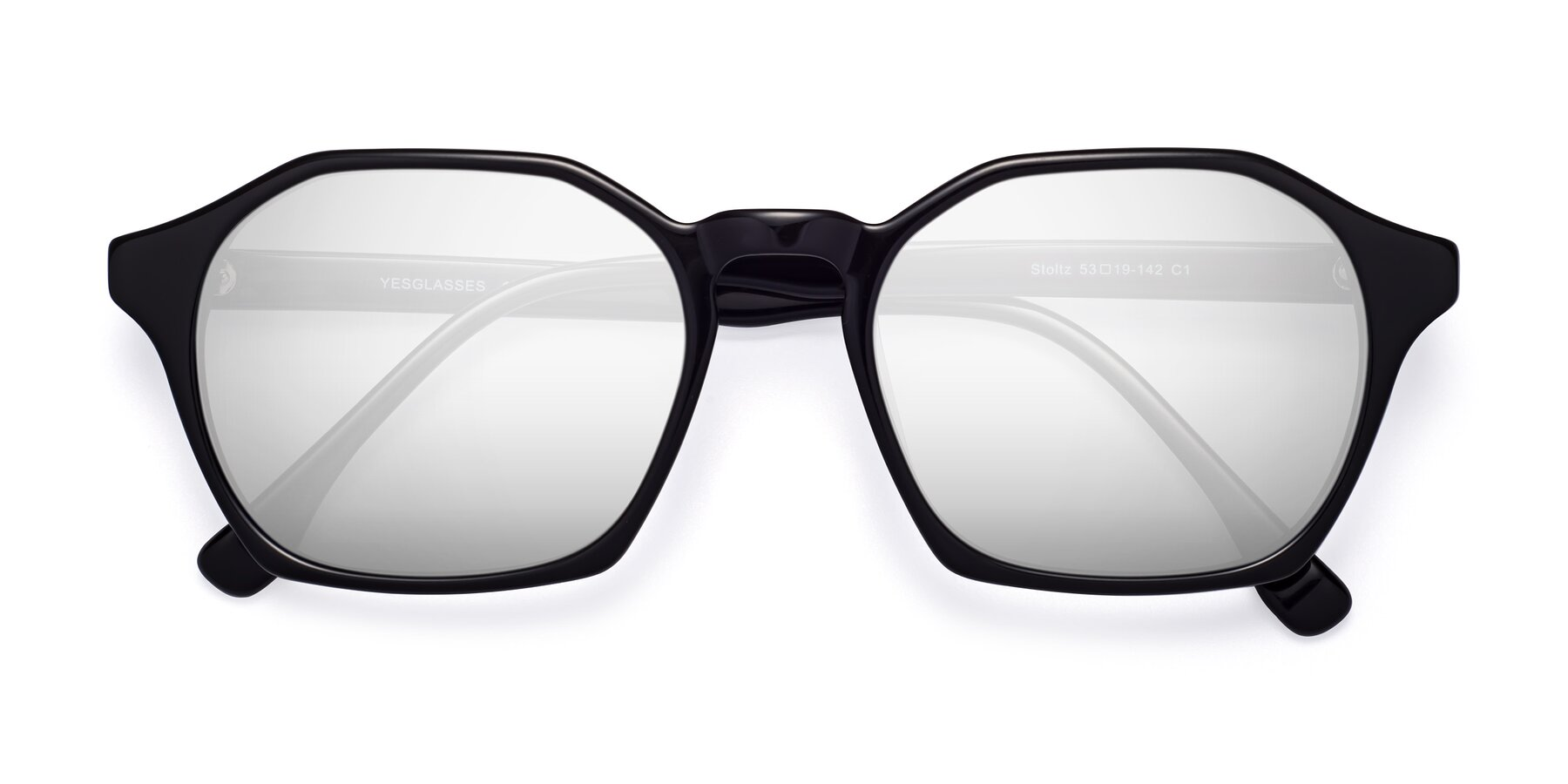 Folded Front of Stoltz in Black with Silver Mirrored Lenses