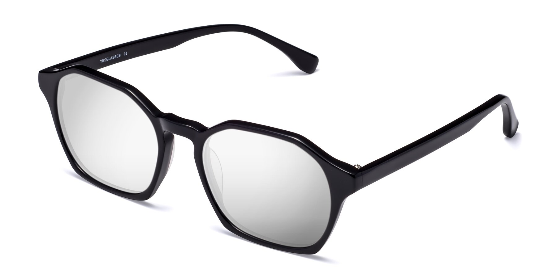 Angle of Stoltz in Black with Silver Mirrored Lenses