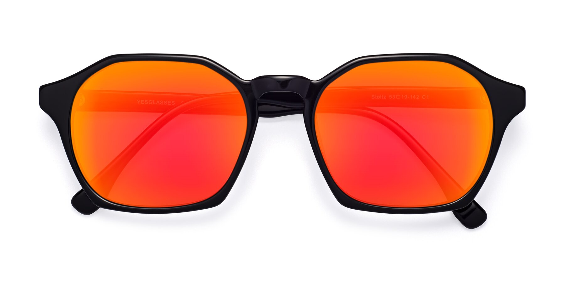 Folded Front of Stoltz in Black with Red Gold Mirrored Lenses