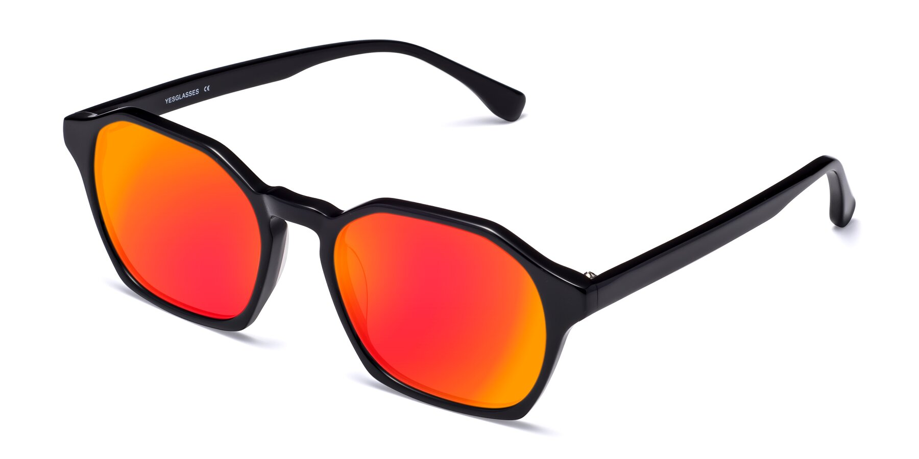 Angle of Stoltz in Black with Red Gold Mirrored Lenses