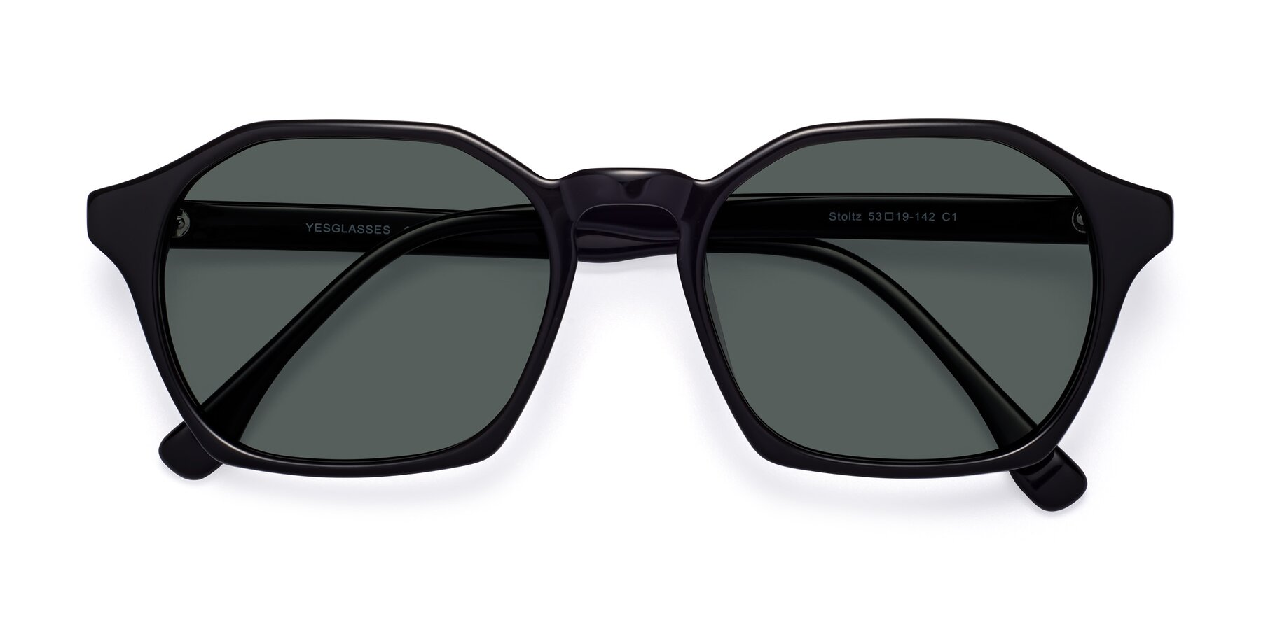 Folded Front of Stoltz in Black with Gray Polarized Lenses