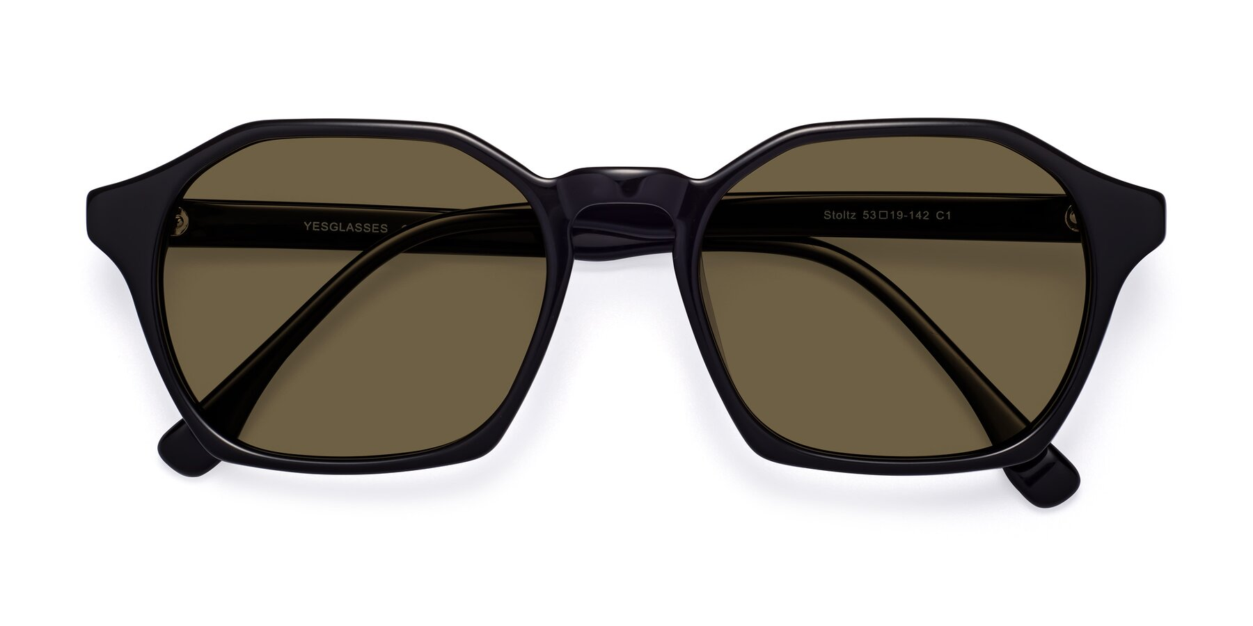 Folded Front of Stoltz in Black with Brown Polarized Lenses