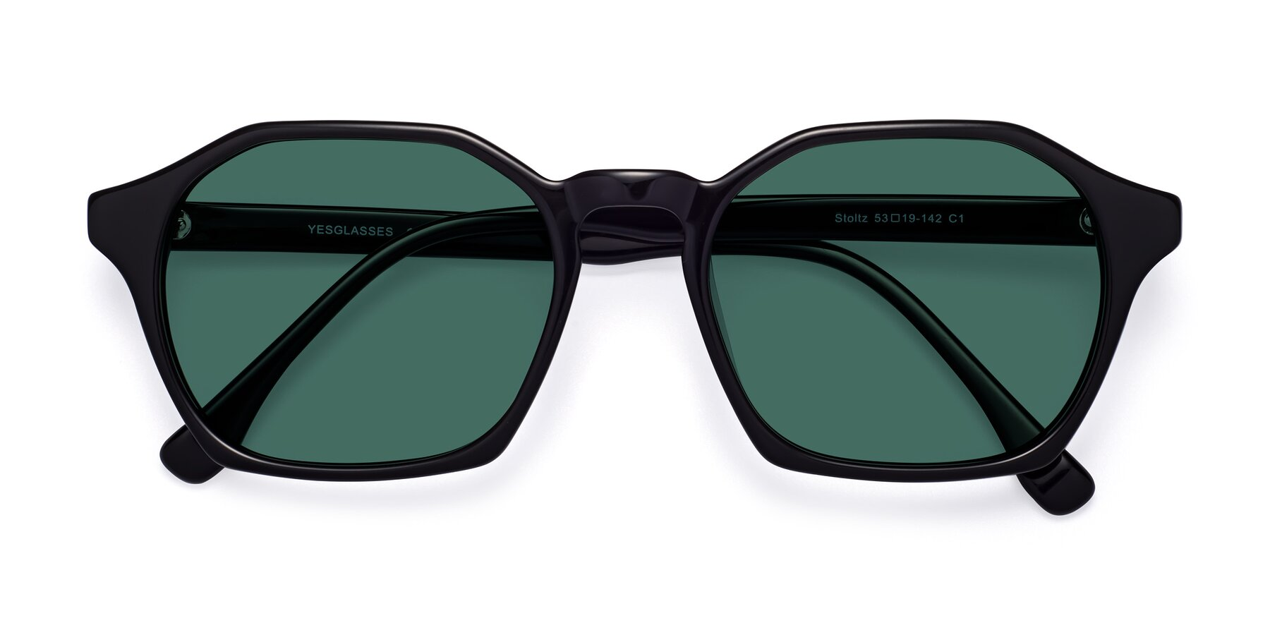 Folded Front of Stoltz in Black with Green Polarized Lenses