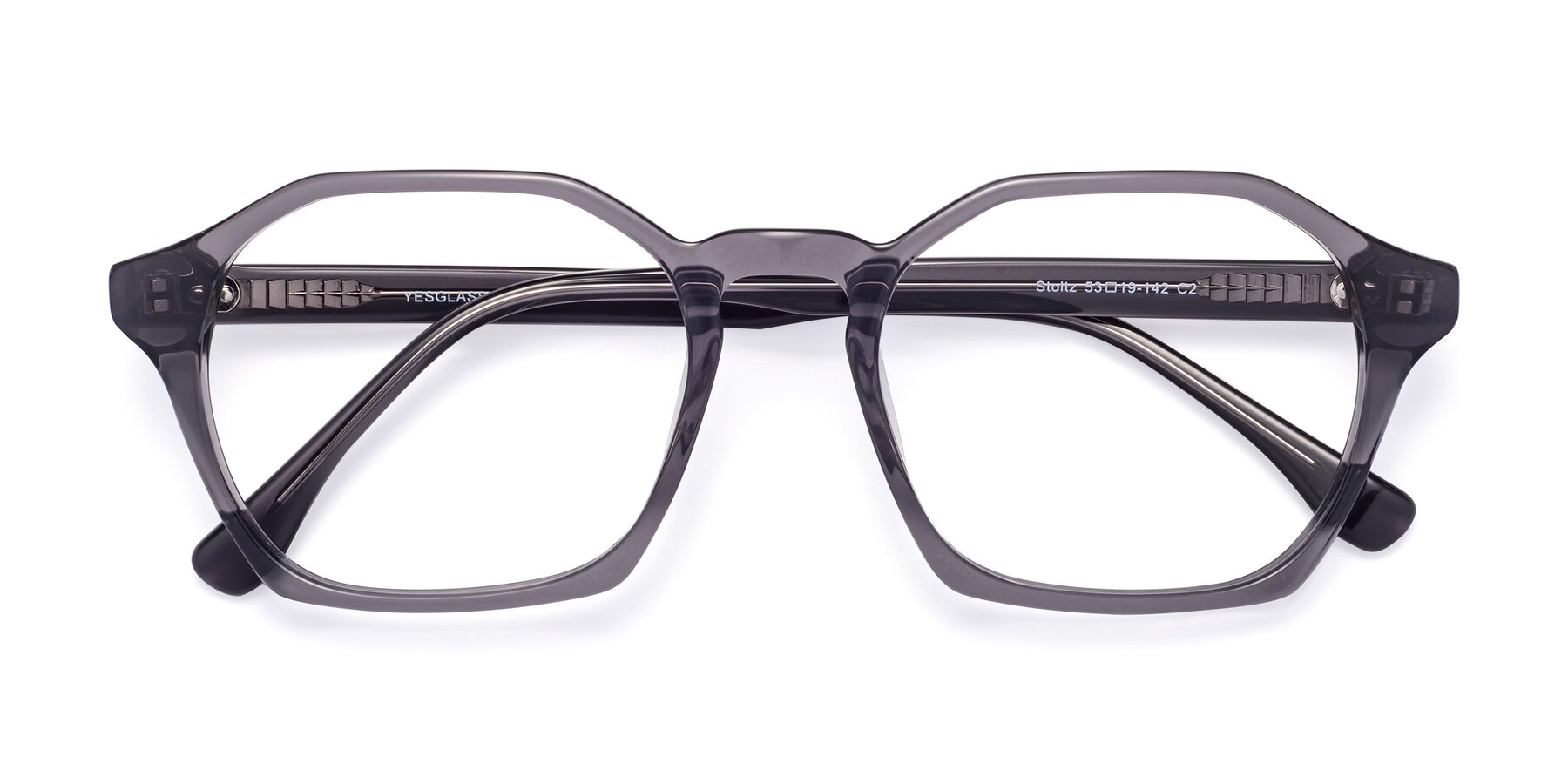 Folded Front of Stoltz in Translucent Gray with Clear Eyeglass Lenses