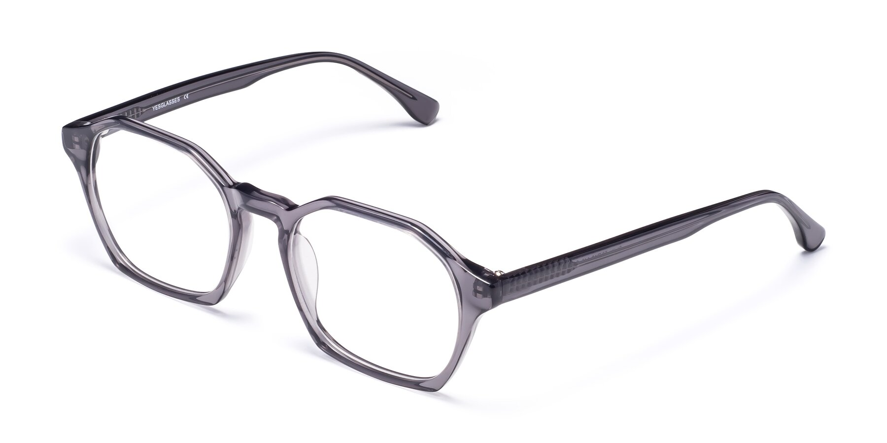 Angle of Stoltz in Translucent Gray with Clear Eyeglass Lenses