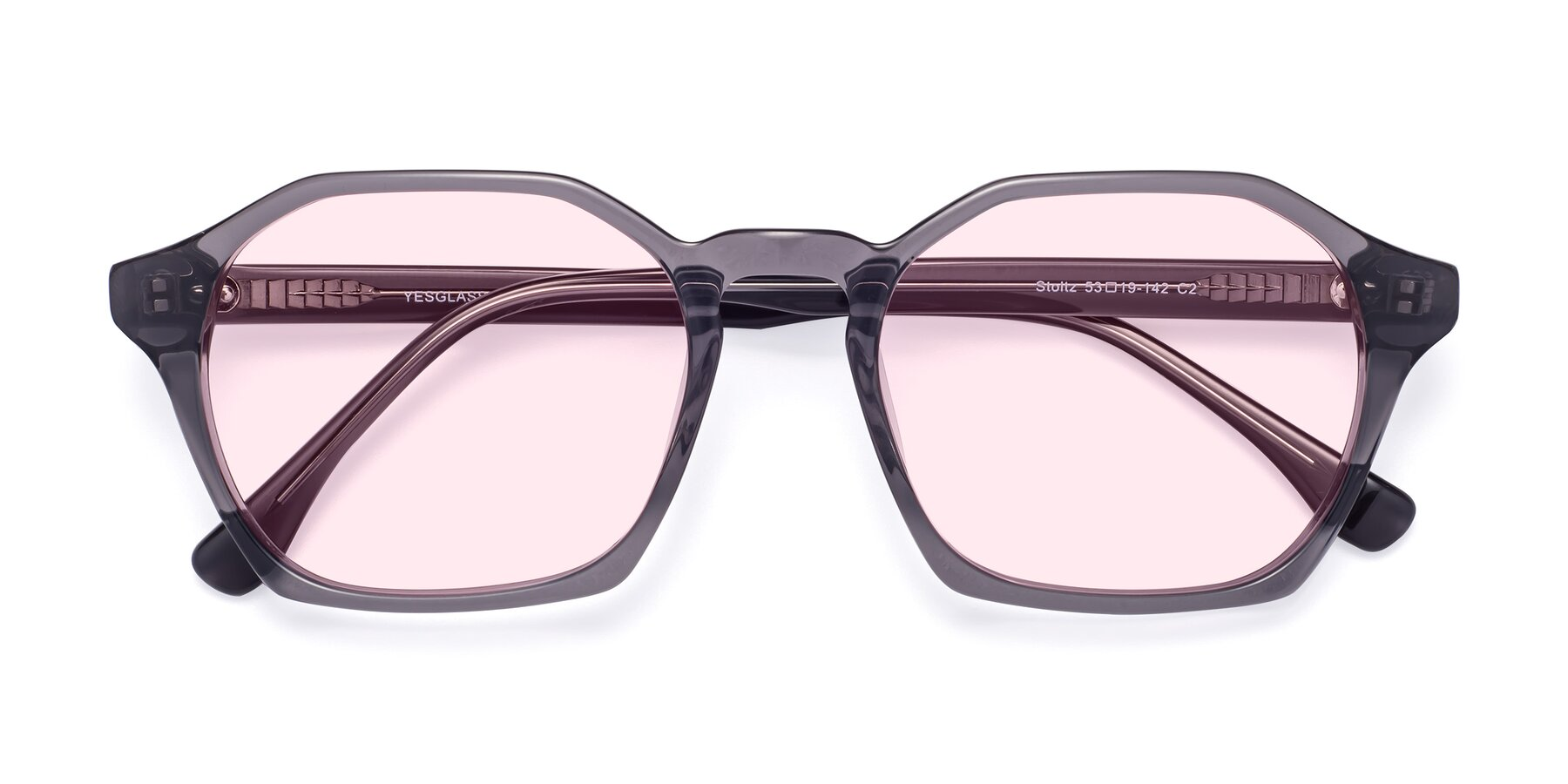 Folded Front of Stoltz in Translucent Gray with Light Pink Tinted Lenses