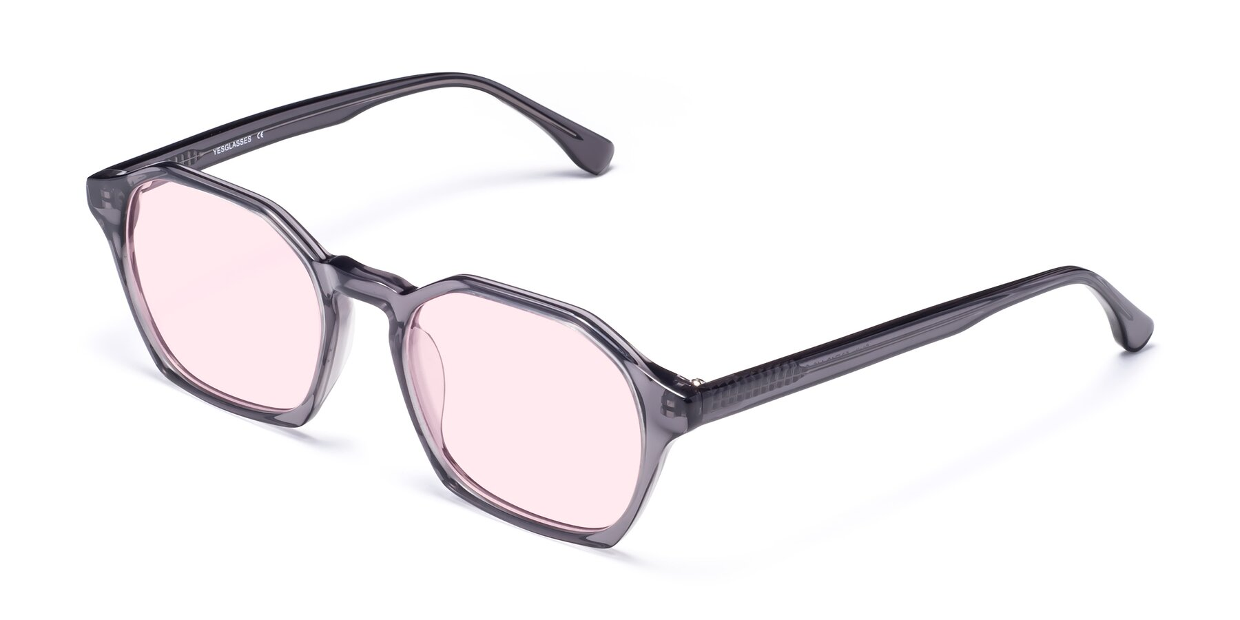 Angle of Stoltz in Translucent Gray with Light Pink Tinted Lenses