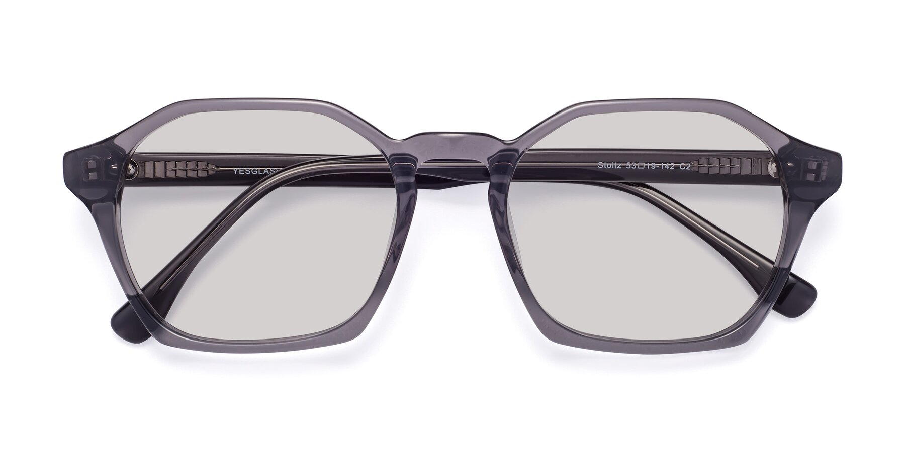 Folded Front of Stoltz in Translucent Gray with Light Gray Tinted Lenses