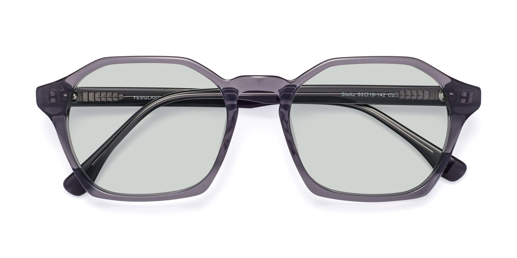 Folded Front of Stoltz in Translucent Gray with Light Green Tinted Lenses