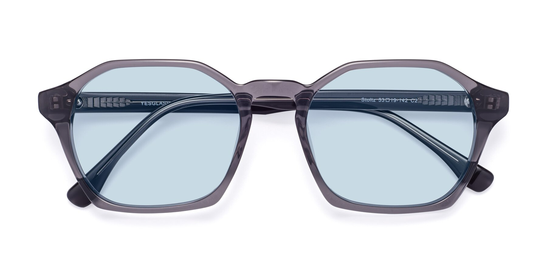 Folded Front of Stoltz in Translucent Gray with Light Blue Tinted Lenses