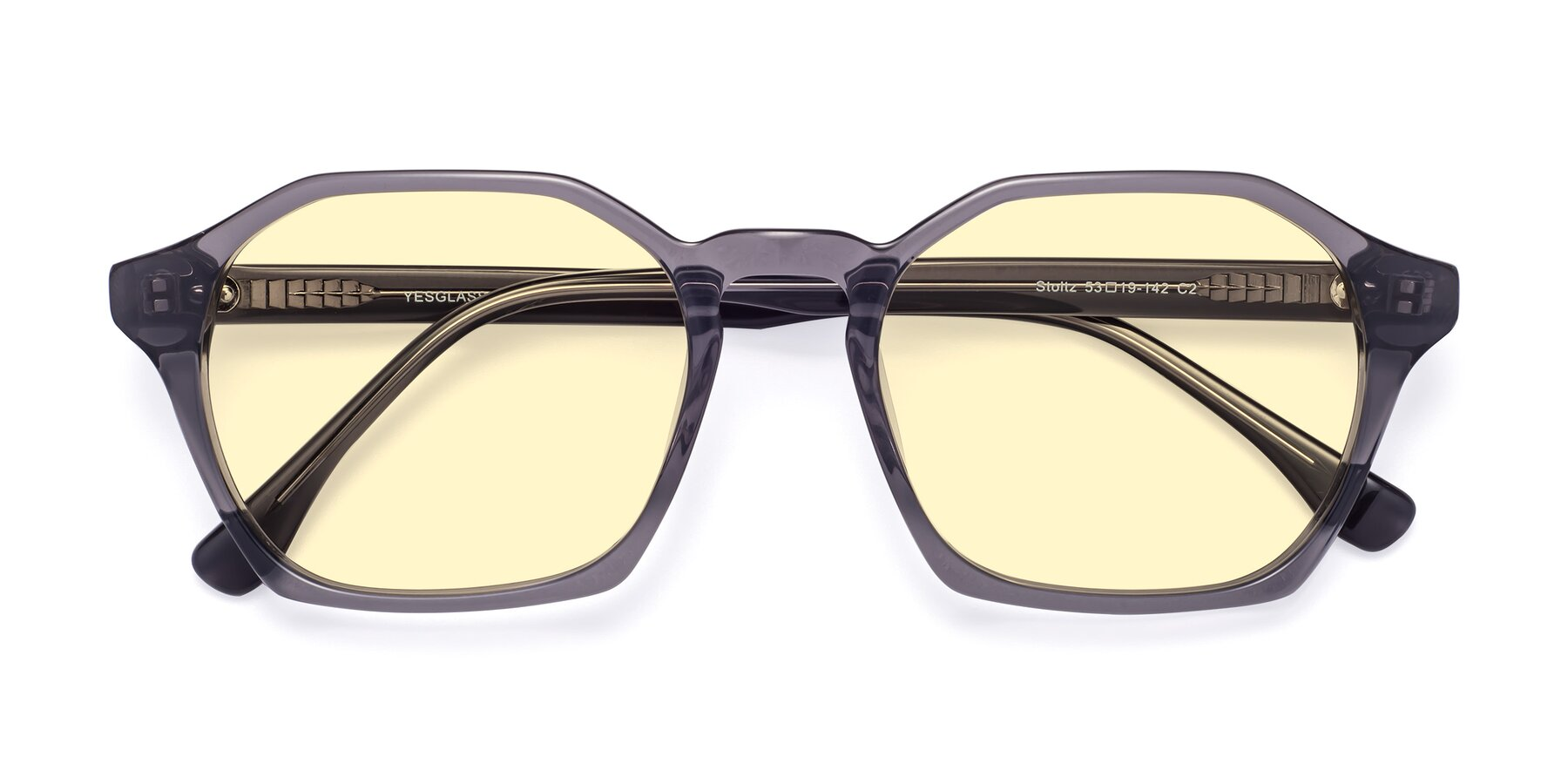 Folded Front of Stoltz in Translucent Gray with Light Yellow Tinted Lenses