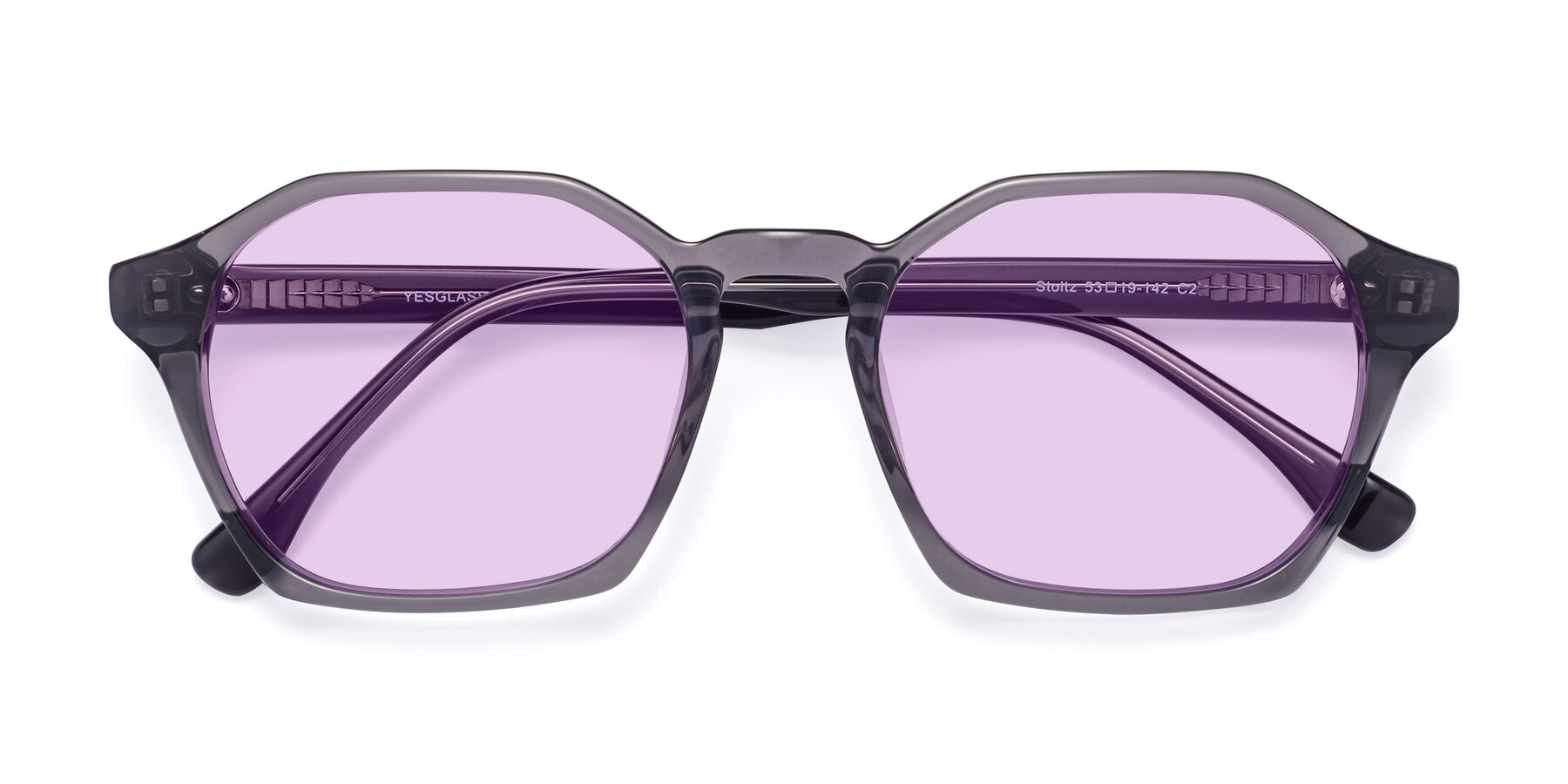 Folded Front of Stoltz in Translucent Gray with Light Purple Tinted Lenses