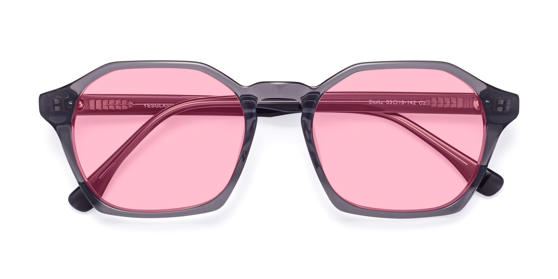 Folded Front of Stoltz in Translucent Gray with Medium Pink Tinted Lenses